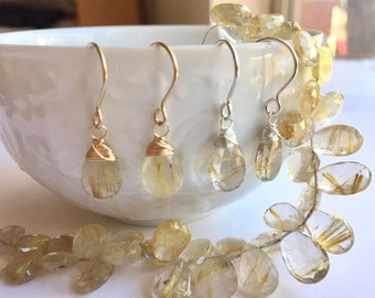 Luxe Gemstone Collection: Rutilated Quartz Drop Earrings, Uncommon Gemstone Drops, Large Golden Rutile Earrings, Stunning Gemstone Earrings
