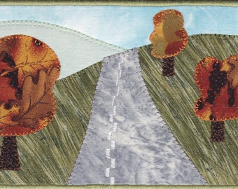Autumn landscape Quilted Fabric Postcard