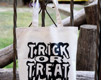 Trick or Treat Bag - Halloween Bucket - Halloween Bag - Shopping Bag - Tote Bag - Halloween Treat Bag - Natural Tote - Large Shopping Bag