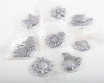Vintage Metal Pewter Magnets, Decorations, Silver Tone, Flowers, Butterfly, Pots, Sunflower, Tea Cup, Star, Ornaments ~ Pink Room ~ 170221