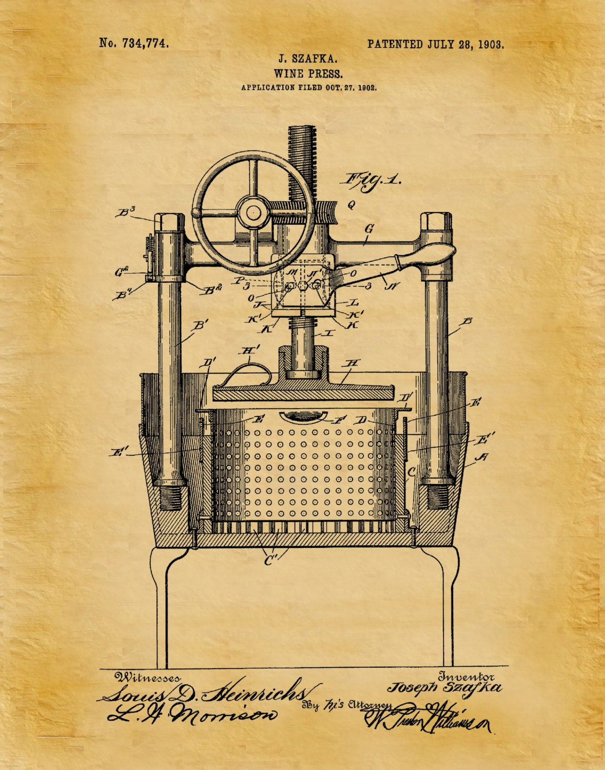Patent 1903 Wine Press - Wine Art Print Poster - Wall Art - Winery ...