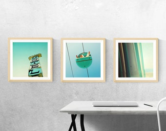 "mid century artwork // for record frames // santa cruz art print set - three 12""x12"" aqua mint blue photography prints"