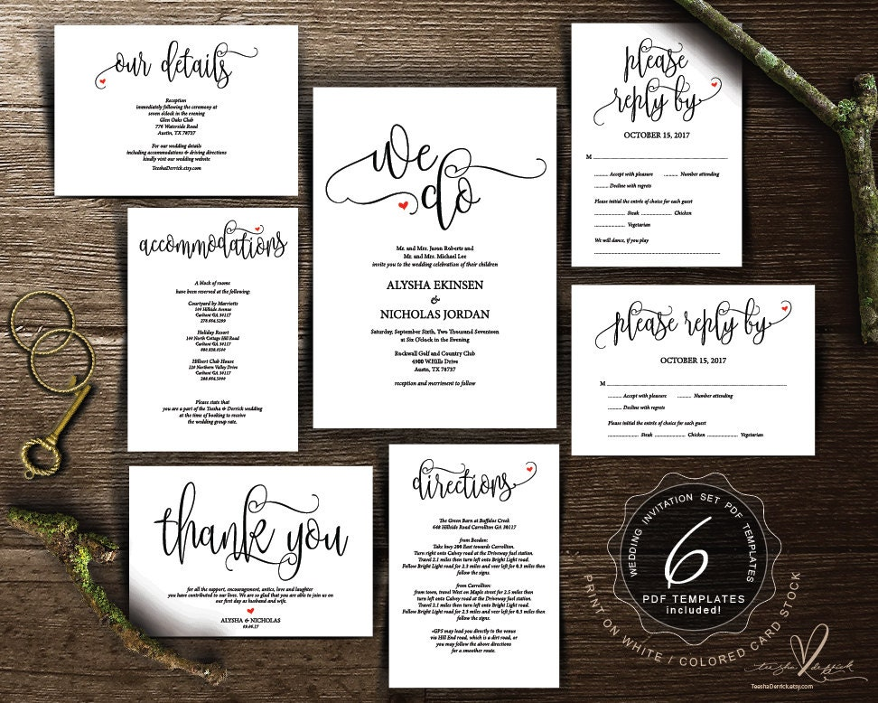 Wedding Invitation Card Download: Wedding Invitation Cards Suite Instant Download PDF Editable