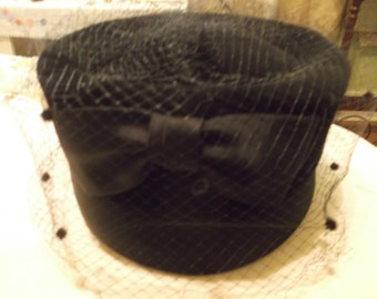 Vintage Black Christine Original Hat/Netting Black Bow on Back