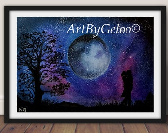Two Lovers Under a Starry Night digital print night couple Wall Decor Home Decor