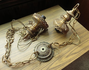 Vintage Hollywood Regency Glam Double Swag Light Ceiling Lamp Canopy Chain Light Socket Part