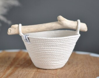 Caddy, storage basket with handle, Easter basket, tool caddy, craftroom organizer, artist caddy, natural decor, coiled rope, wood* handle