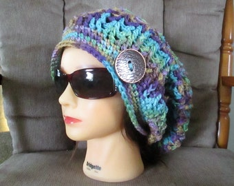 Slouchy hat, women's crochet hat