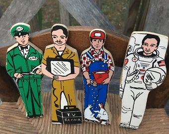 Vintage Wooden Community Worker Figures , Toys