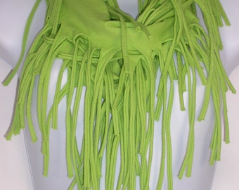 Lime Green Cotton Infinity Fringe Scarf Green Fringed Scarves Green Fringe Scarf Fringe T Shirt Scarf T Shirt Scarves Cotton Fringe Scarves