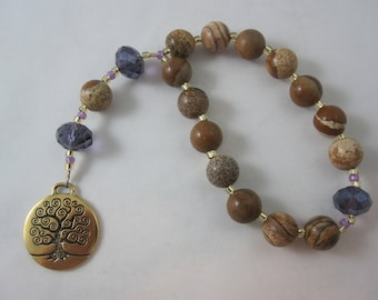 Picture Jasper and Purple Chinese Crystal Prayer Chaplet with Tree of Life
