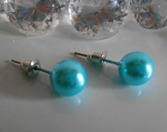 Wedding Stud Earrings 10 mm turquoise bead