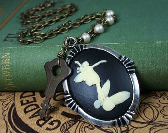 Cameo Key Necklace Upcycled Vintage Victorian Assemblage Steampunk Jewelry