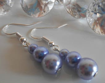 Trio of lavender pearls wedding earrings