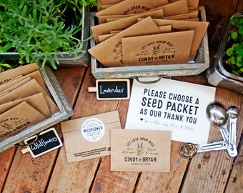Seed Packet Wedding Favors - Personalized Bag and Seeds included - Kraft Paper Favor Bags - Seed Favor - 30 Packets or more