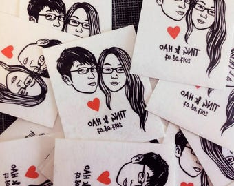 Wedding favors personalized gift for Couple Custom portrait tattoo / Temporary Tattoos / Wedding portrait / Bride gift engagement party