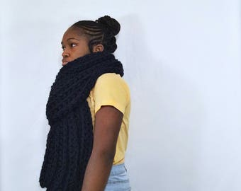 Knit Blanket Scarf, Blue Scarf, Blue Extra Long Scarf, Blue Wool Scarf, Oversized Scarf, Winter Accessories, Huge Scarf, Winter Scarf