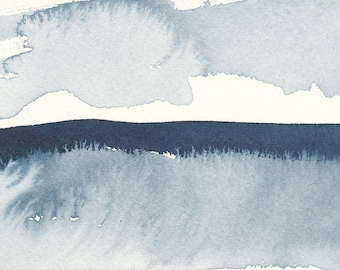 """Frosted Waterscape, Original Abstract Waterscape Painting, Watercolour, Indigo Blue, 4"""" X  6"""""""