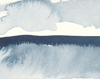 "Givré aquatiques, Waterscape abstrait peinture, aquarelle, bleu Indigo, 4 ""X 6"""