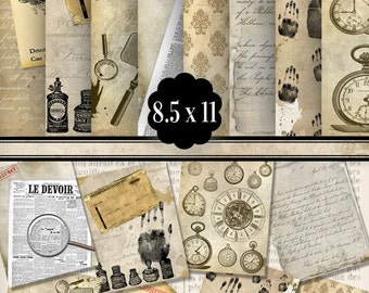 Detective Paper Pack 8.5 x 11 inch printable paper crafting scrapbooking instant download digital paper collage sheet - VDPAVI1412