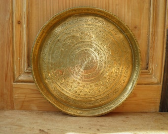 Antique Persian Brass Tray, Round Brass Tray, Vintage Brass Tray, Hunting Dogs with Floral Decoration, Boho Decor, Middle Eastern,