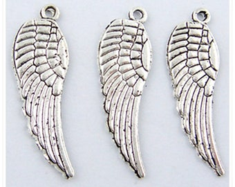 10 pcs - 17 mm X 5 mm angel wing silver colored metal wing charm
