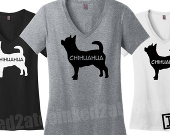 Chihuahua vneck tshirt Chihuahua lovers tshirts tees