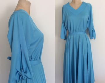 1970's Sky Blue Polyester Dress w/ Sleeve Ties & Accordion Pleat Skirt Size Small Medium by Maeberry Vintage