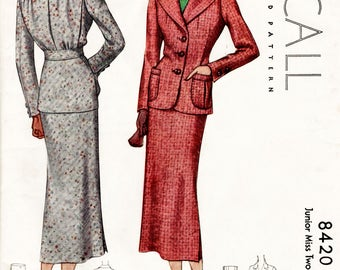 1930s 30s skirt suit Vintage Sewing Pattern notched lapel jacket pencil skirt bust 38 b38 repro reproduction