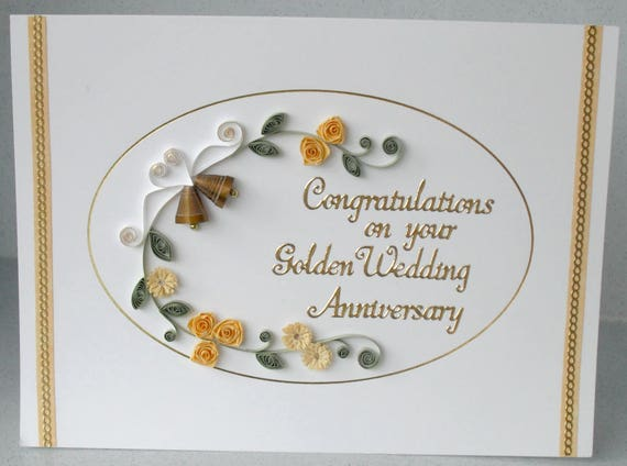 Th anniversary card golden wedding quilled paper quilling