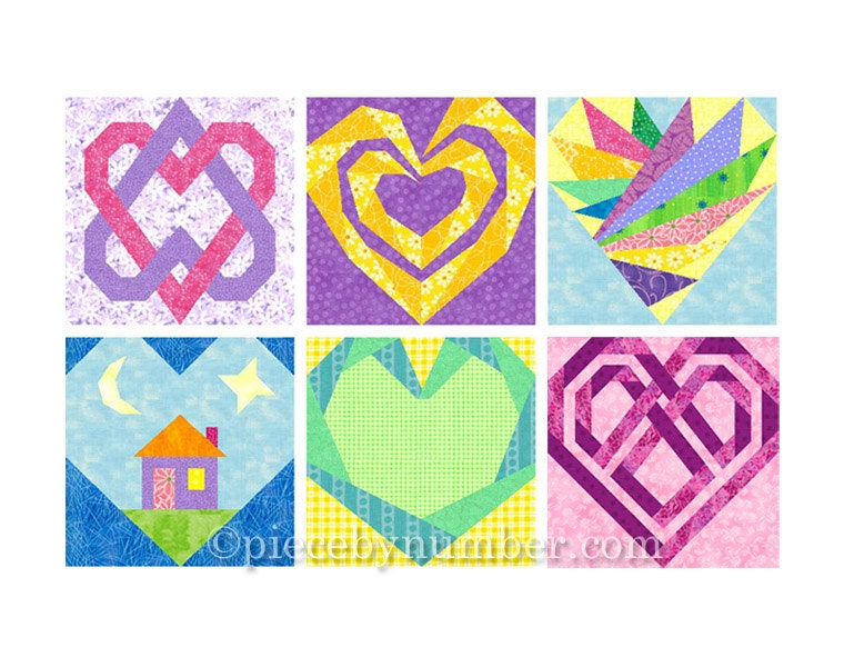 6 Heart Quilt Block Patterns paper piecing quilt patterns : wedding quilt block pattern - Adamdwight.com