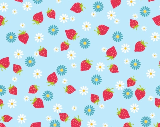 Cupcake Cafe by Studio E - Strawberries on Aqua - Cotton Woven Fabric