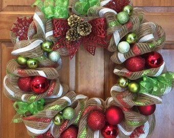 Christmas Wreaths, Deco Mesh Wreaths, Front Door Wreaths, Wreaths, Holiday Wreaths, Wreaths, Red Green White Wreaths,
