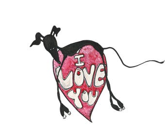 I love you - available as A4 print or A5 blank card