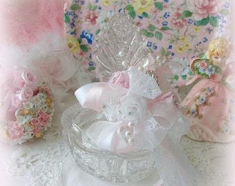 Vintage German Crystal Powder Jar, Art Deco Powder Jar, Powder Jar, Cottage Chic, Victorian, Trinket Jar, Mothers Day