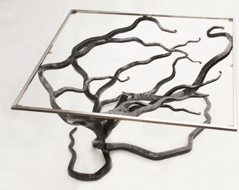 Customized Tree Table Glass and Metal Tree Coffee Table