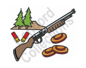 Hunting - Machine Embroidery Design, Shotgun