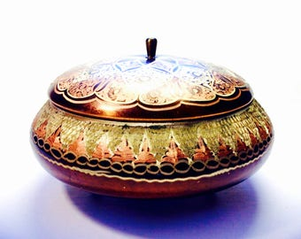 "Etched Copper 6"" Round Bowl Footed with Lid, Eclectic/BOHO Design, Made in India"