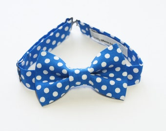 Bow Tie - Royal Blue and White Polka Dot Bowtie