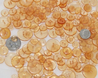 150 Clear Buttons, Clear Orange Buttons, Assorted sizes Buttons, Grab Bag, Sewing, Crafting, Jewelry, Collect (AD 83)