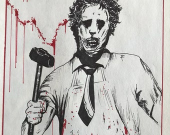 Original Leatherface Texas Chainsaw Massacre drawing. 70's horror art.