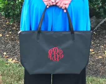 Monogram Tote Bag - Various Colors - Tote Bag - Faux Leather Handles