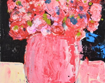 Acrylic Flower Painting. Romantic Pink Roses. Still Life Floral Art. Palette Knife Painting. Floral Wall Decor. 239