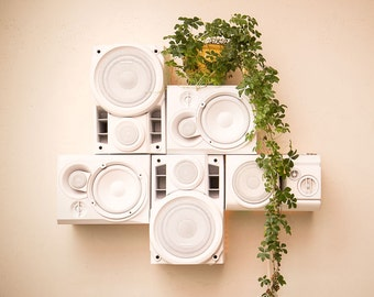 Modular HiFi Wall Sculpture with repurposed speakers, USB charging station, 200 watt bluetooth amp, accent lights