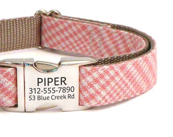 Personalized Laser Engraved Buckle Dog Collar in Pink - ID Dog Collar Personalization - Pink Plaid Dog Collar for Girl