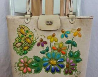Vintage Enid Collins Jeweled Bucket Purse 'Pretty Petals'