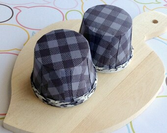 50 Navy Gingham Baking Cups