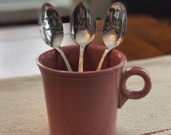 Pink Fiesta Mug Paired With Stamped Spoon