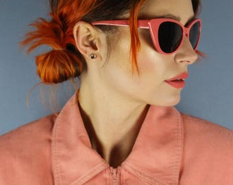 50's 90's Retro coral pink catseye frames with black lenses sunglasses