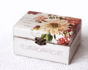 Wedding Box Cards Holder Wooden Vintage Decoupage Box For Cards Jewelry Storage Box Home Decor White Red Flowers Rustic Decoration
